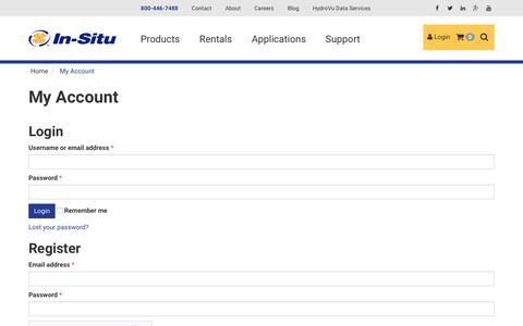 Screenshot of Login Page in-situ.com - My Account - In-Situ - captured Jan. 8, 2016