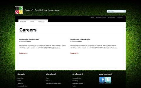 Screenshot of Jobs Page zimcricket.org - Careers - captured Oct. 27, 2014