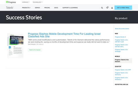 Screenshot of Testimonials Page telerik.com - Telerik UI for Xamarin >> Telerik Success Stories - captured Jan. 20, 2018