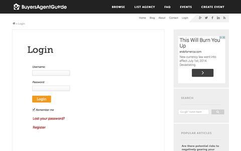 Screenshot of Login Page buyersagentguide.com.au - Login - Buyers Agent Guide - captured Sept. 30, 2014
