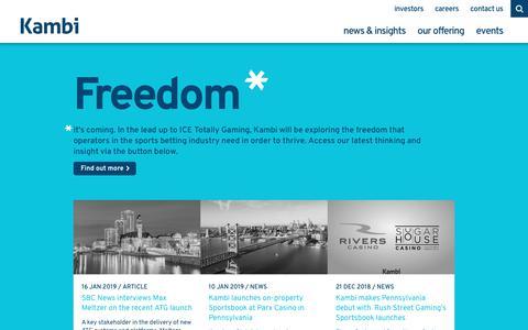 Screenshot of Home Page kambi.com - The Sports Betting Experience Company | Kambi - captured Feb. 1, 2019