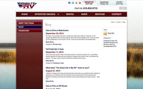 Screenshot of Blog webstercityrv.com - Camping, RVs, and Travel Resource | Blog - Webster City RV - captured Oct. 9, 2014