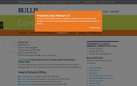 Screenshot of Contact Page bullis.org - Bullis School: Contact Us - captured Feb. 15, 2016
