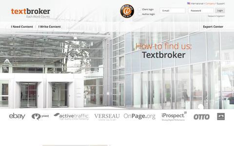 Screenshot of Contact Page textbroker.com - Contact | Textbroker - captured Sept. 17, 2014