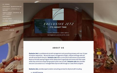 Screenshot of About Page exclusivejetz.com - About Us — Exclusive Jetz - captured Oct. 27, 2014