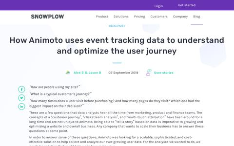 Screenshot of Blog snowplowanalytics.com - How Animoto uses event tracking data to understand and optimize the user journey - captured Feb. 10, 2020
