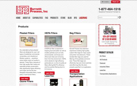 Screenshot of Products Page burnettprocessinc.com - Product Line | Burnett Process, Inc - captured Sept. 30, 2014