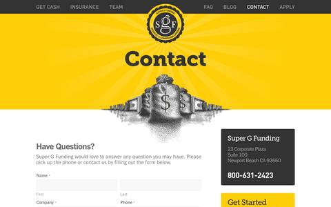 Screenshot of Contact Page supergfunding.com - Contact - Super G Funding - captured Oct. 7, 2014