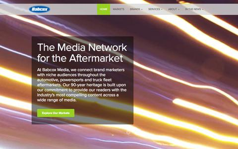 Screenshot of Home Page babcox.com - Babcox Media - The Media Network for the Aftermarket - captured Oct. 5, 2014