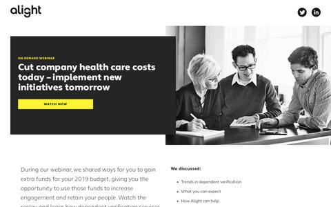 Screenshot of Landing Page alight.com - Cut company health care costs today – implement new initiatives tomorrow | Alight Solutions - captured Sept. 19, 2018