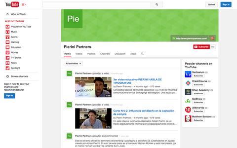 Screenshot of YouTube Page youtube.com - Pierini Partners  - YouTube - captured Oct. 22, 2014