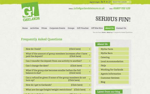 Screenshot of FAQ Page garlandsleisure.co.uk - Garlands Leisure Ltd - captured Oct. 2, 2014