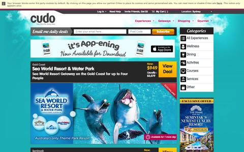 Screenshot of Home Page cudo.com.au - Daily Deals, Discounts & Vouchers @ Cudo - captured Oct. 20, 2015