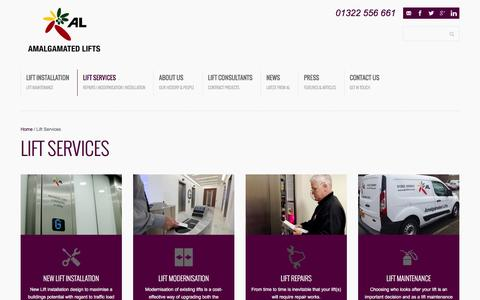 Screenshot of Services Page al-lifts.co.uk - Lift Services - London & The South East Amalgamated Lifts - captured Feb. 6, 2016