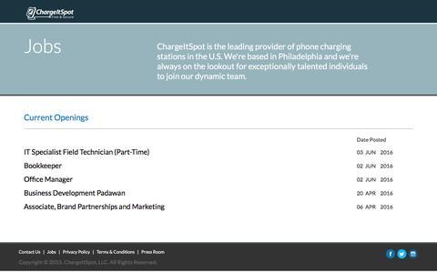 Screenshot of Jobs Page chargeitspot.com - Jobs - captured July 7, 2016