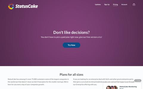 Screenshot of Pricing Page statuscake.com - Pricing – StatusCake – Website Monitoring - captured Feb. 14, 2016