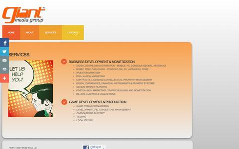 Screenshot of Services Page giantmediagroup.com - Services - captured Sept. 29, 2014