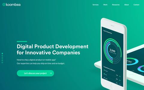 Screenshot of Home Page koombea.com - Digital Product Development for Innovative Companies - Let's talk! - captured June 9, 2017