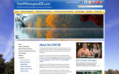 Screenshot of About Page visitwilmingtonde.com - Contact the Wilmington CVB - Wilmington, Delaware & Brandywine Valley - captured Oct. 3, 2014
