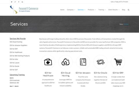 Screenshot of Services Page focused-ec.com - EDI Services - Focused E-Commerce, Inc. - captured Oct. 6, 2014