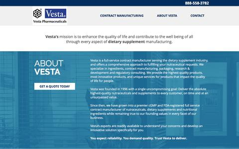 Screenshot of About Page Contact Page Services Page vestapharm.com - Vesta Pharmaceuticals | Dietary Supplement | Contract Manufacturing - captured Oct. 20, 2017