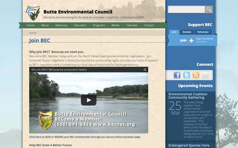 Screenshot of Signup Page becnet.org - Join BEC | Butte Environmental Council - captured Feb. 8, 2016