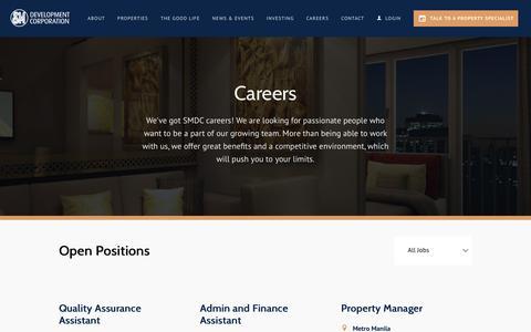 Screenshot of Jobs Page smdc.com - SMDC - captured June 17, 2019