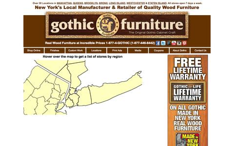 Screenshot of Locations Page gothiccabinetcraft.com - Gothic Cabinet Craft - captured Sept. 22, 2014