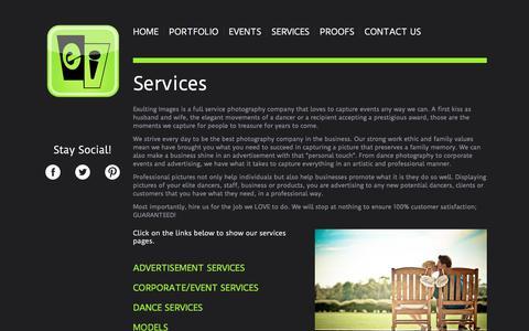 Screenshot of Services Page exultingimages.com - Services - exultingimages - captured July 23, 2018