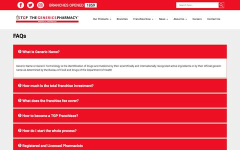 Screenshot of FAQ Page tgp.com.ph - FAQ | The Generics Pharmacy - captured Dec. 22, 2016