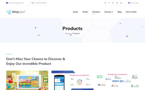 Screenshot of Products Page arkayapps.com - Our Impressive Products of website Design, Mobile application | Arkay Apps | - captured March 20, 2019
