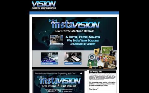 Screenshot of Landing Page visionengravers.com - Engraving Demo   InstaVision   Vision Engraving & Routing - captured Oct. 19, 2016