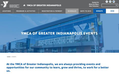Screenshot of Support Page indymca.org - Calendar of Events | YMCA Of Greater Indianapolis - captured Nov. 7, 2018