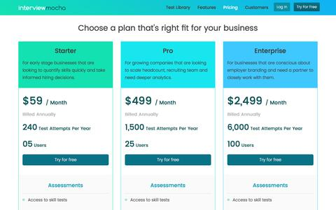 Interview Mocha Pricing | Cost Effective Skill Testing Solution