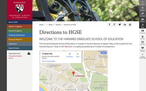 Screenshot of Maps & Directions Page harvard.edu - Directions to HGSE  | Harvard Graduate School of Education - captured Sept. 13, 2014
