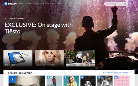 Screenshot of Home Page shazam.com - Shazam - Music Discovery, Charts & Song Lyrics - captured Nov. 5, 2015