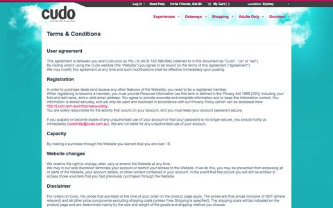 Screenshot of Terms Page cudo.com.au - Terms & Conditions - captured Sept. 22, 2014