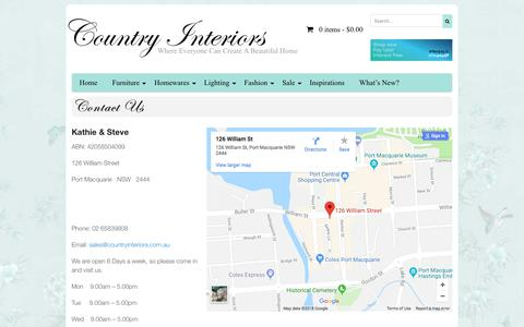 Screenshot of Contact Page countryinteriors.com.au - Contact Us   Country Interiors - captured July 22, 2018