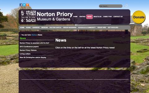Screenshot of Press Page nortonpriory.org - Norton Priory - News - captured Oct. 26, 2014