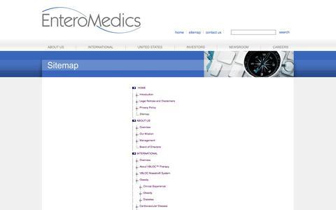 Screenshot of Site Map Page enteromedics.com - Enteromedics > Sitemap - captured Sept. 16, 2014