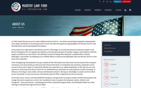 Screenshot of About Page murthy.com - About Us - Murthy Law Firm | U.S Immigration Law - captured March 14, 2017