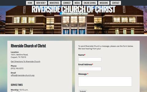 Screenshot of Contact Page riverside-church.org - Contact | Riverside Church Of Christ - captured June 16, 2016