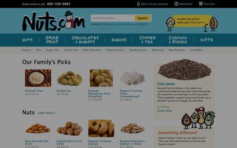 Screenshot of Home Page nuts.com - Nuts.com | NutsOnline | Premium Bulk & Wholesale Nuts, Dried Fruits & Gift Baskets - captured Jan. 13, 2016