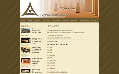 Screenshot of Press Page fmacoustics.com - News Introducing the Resolution FM 118 - FM ACOUSTICS LTD. - captured Oct. 5, 2014