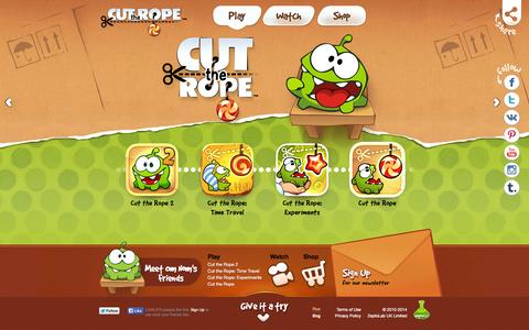 Screenshot of Home Page cuttherope.net - Cut the Rope games, Om Nom and Nommies Official Website - captured Sept. 23, 2014