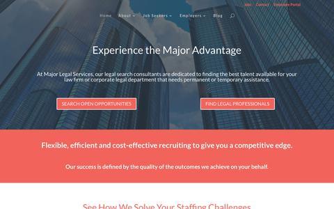 Screenshot of Home Page majorlegalservices.com - Home Page - Major Legal Services - captured July 26, 2018