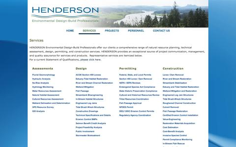 Screenshot of Services Page hendersondesign-build.com - Services | HENDERSON - captured Oct. 2, 2014