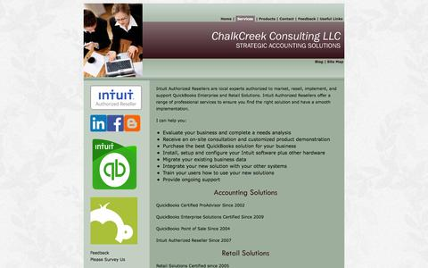 Screenshot of Services Page chalkcreekconsulting.com - Services - captured Nov. 3, 2016