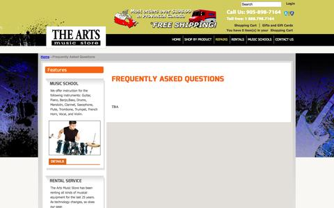 Screenshot of FAQ Page theartsmusicstore.com - Frequently Asked Questions - captured Oct. 7, 2014