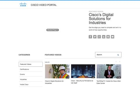 Screenshot of Products Page Services Page cisco.com - Cisco Video Portal - captured Jan. 11, 2016